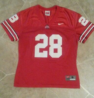 new arrivals 239d0 e056b OHIO STATE BUCKEYES NIKE FOOTBALL  28 LADIES WOMENS CUT RED JERSEY Sz SMALL  4-