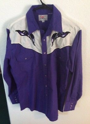 Ely Diamond Mens Western Ehirt Vintage Size Medium Purple Rockabilly