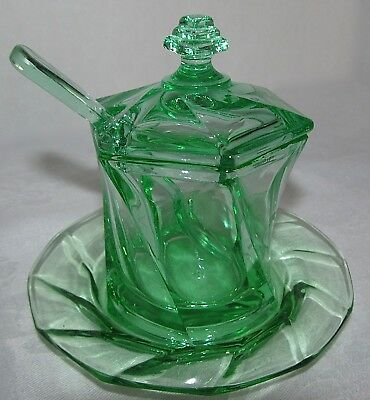 "ANTIQUE HEISEY ""Twist"" MOONGLEAM GREEN GLASS MUSTARD JAR LID SPOON PLATE"