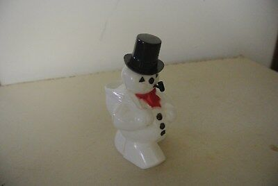 VINTAGE CHRISTMAS ROSBRO PLASTIC SNOWMAN CANDY CONTAINER- 1950's