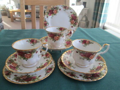 SET OF 3 ROYAL ALBERT OLD COUNTRY ROSES TRIOS  1st QUALITY MADE IN ENGLAND