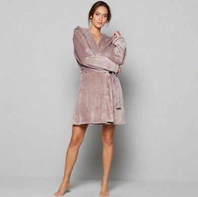 B By Ted Baker Fawn Embossed Bow Mole Skin Dressing Gown Size 12 14