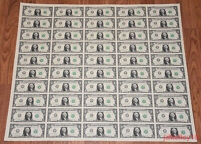 $1 UNCUT SHEET 1x50 ONE DOLLAR BILLS UNITED STATES CURRENCY MONEY BEP NEW
