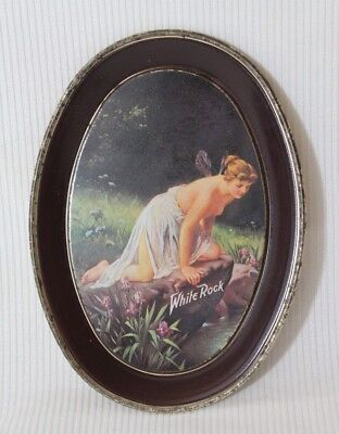 """White Rock Topless Fairy Lady Tin Tip Tray FabCraft 6"""" Vintage Advertising"""