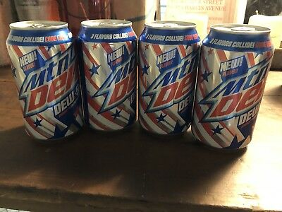 x4 2017 FULL American USA 12 oz. Mtn Mountain Dew Dew S A - Limited Time Flavor