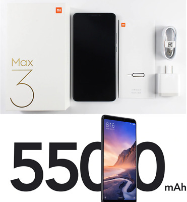 GLOBAL VERSION Xiaomi MI Max 3 Android Unlocked Octa Core smartphone 64GB Black
