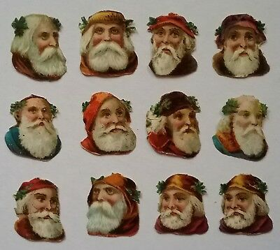 12 small Victorian Scraps. Father Christmas Faces. App. 2.5×2.2cms.
