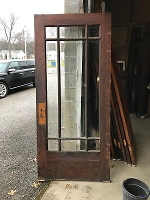Mar 270 Antique oak Prairie or nine light beveled glass entrance door 35.75 x 80