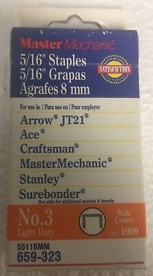 """Master Mechanic 1,000 Pack of 5/16"""" Light Duty Wide Crown #3 Staples"""