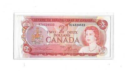 Bank O F Canada 1974 Two Dollar Note, Crisp Gem Uncirculated,