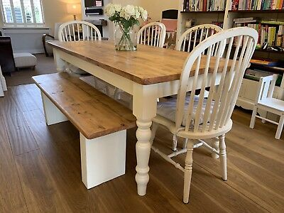 Reclaimed Farmhouse 6ft Pine Table & Bench