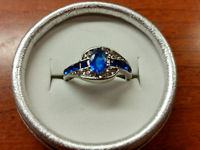 Blue Faux Sapphire Ring Silver Size 8 With Gift Box !!!! MAKE US AN OFFER !!!!