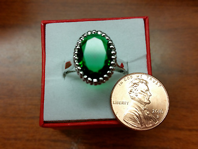 Very Large Oval Shaped Emerald Silver Ring Size 10 !!!!