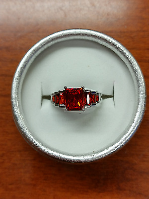 Brand New Silver Faux Ruby Garnet Size 8 Ring Exquisite Free Gift Box MAKE OFFER
