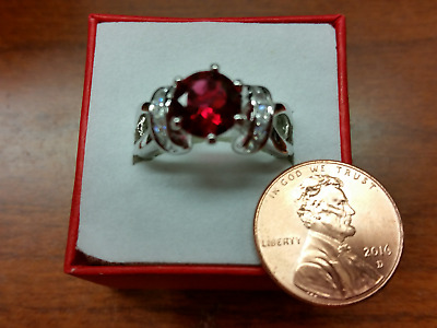 Red Garnet or Ruby Silver Ring Size 7 !!!!  FREE GIFT BOX!!!!