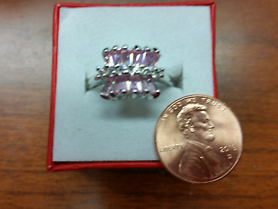 Pink Topaz  Silver Ring Size 8 !!!! FREE GIFT BOX!!!!
