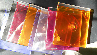 Lot of 8 Hard-Plastic Clean Empty Multi-Color CD / DVD Jewel Cases