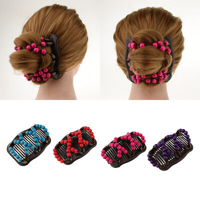 4x Double Comb Clips Stretchy Womens Easy Bun Makers Hairstyling Magic Tools