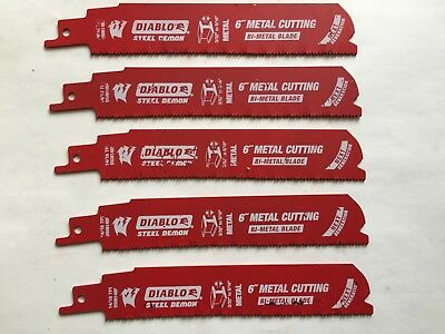 "DIABLO 6"" 14/18 Tpi BI METAL STEEL DEMON NEXT GEN METAL CUT SAWZALL BLADES-5 PCS"