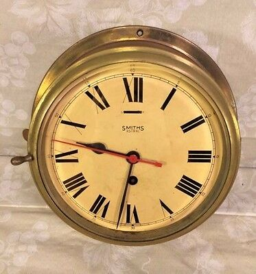 "Vintage Smith Astral Ship's Clock 9"" Case Runs Time Only Runs England"