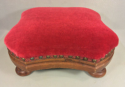 Antique Walnut Footstool with Red Velveteen Top