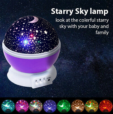 Rotating Led Night Light Projector Starry Moon Baby Kids Sleep Romantic bedroom