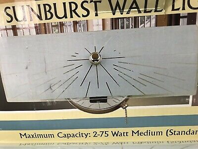 "Vintage MCM Style Sunburst Wall Bathroom Sconce Light 12""W x 4""H x 5"" Depth"