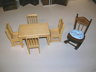 Dollhouse Real Wood Table with 4 Chairs and a Wood Rocking Chair Miniature Nice
