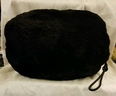 Vintage Beaver Fur Muff Hand Bag Warmer Black