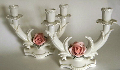 Pair Blanc de Chine German Porcelain Double Arm Candelabras Karl ENS Volkstedt