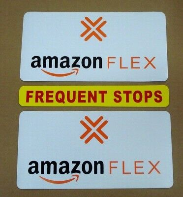 "2 AMAZON FLEX  6""X12"" & 1 FREQUENT STOPS 1 3/4"" X 12"" Magnetic CAR VEHICLE SIGNS"