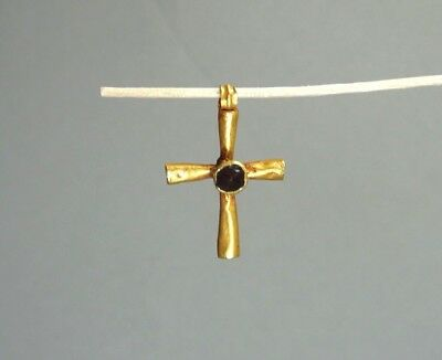 ANCIENT GOLD & GARNET CROSS PENDANT BYZANTINE 400-600 AD * Holiday reduced price