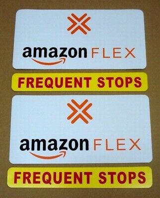 "2 AMAZON FLEX  6""X12"" & 2 FREQUENT STOPS 1 3/4"" X 12"" Magnetic CAR VEHICLE SIGNS"