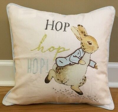 "NEW Pottery Barn Kids Peter Rabbit HOP HOP HOP 16"" Pillow Cover + Insert"