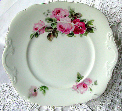 """Antique Pink Roses Cake Plate Molded Handles 9 1/2"""" Cake Plate C.1800s Unmarked"""