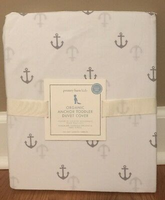 NEW Pottery Barn Kids Organic Anchor TODDLER Duvet Cover GRAY