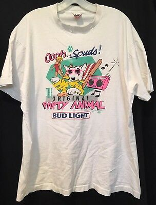 Vtg 80s Spuds Mackenzie Original Party Animal T Shirt Mens XL Bud Light Beer USA