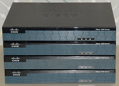 Lot 4 Cisco 1900 Series 1921 Gigabit Wired Integrated Services Router Tested