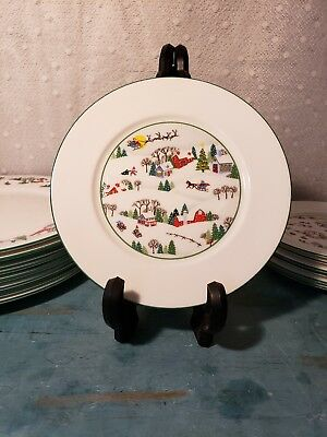 """Lenox China SLEIGHRIDE Salad Accent Plate 8"""" Dia Use for Xmas Holiday Multiples"""