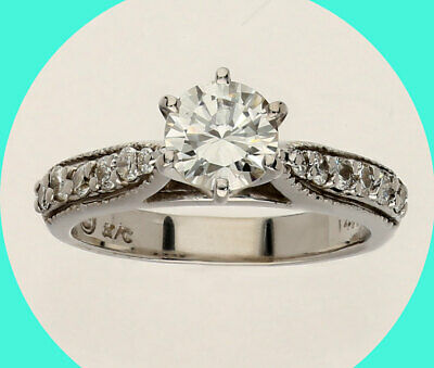 3aa2a715f0c26 VS1 ANTIQUE ESTATE diamond engagement ring 14K white gold round ...