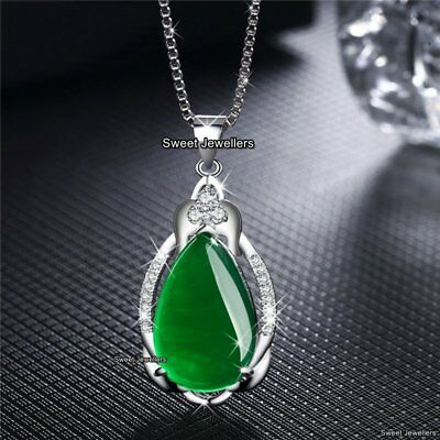 Rare Emerald Green Stone Necklaces Xmas Gifts For Her Mother Daughter Wife Women