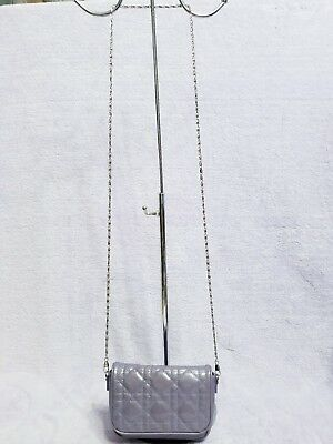 Authentic Christian Dior Lilac Patent Leather Cannage Cross Body Small Chain Bag