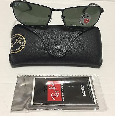 eff903bc03 New Authentic RayBan RB3498 002 9A 61mm Black Green Polarized Lenses