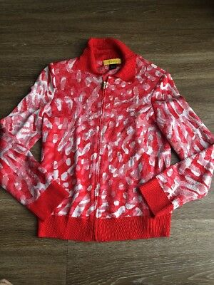 St. John Zip Cardigan Sweater Small Red Knit by Marie Gray