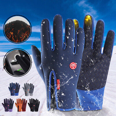 Ski Gloves Zipper Winter Sports Thermal Touch Waterproof Snowboard Skiing US