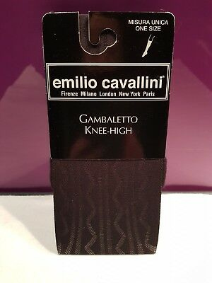 EMILIO CAVALLINI Stripe/Zigzag Pattern Black Knee Highs, Semi Opaque One Size
