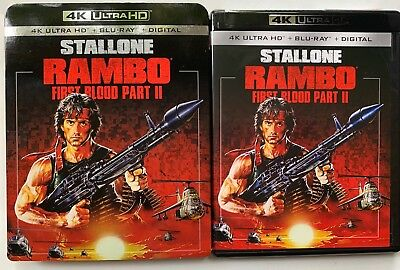 Rambo First Blood Part Ii 4K Ultra Hd Blu Ray 2 Disc Set + Slipcover Slystallone