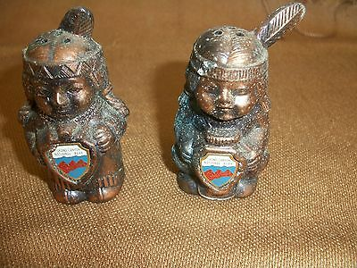 Vintage Native American Indian Copper Salt & Pepper Shakers-Grand Canyon Park