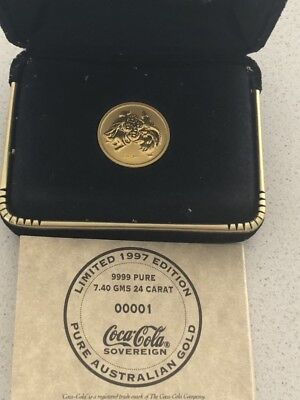 Coca Cola 24 carat gold sovereign 1997 Limited Edition 7.4g Australia coin ABC