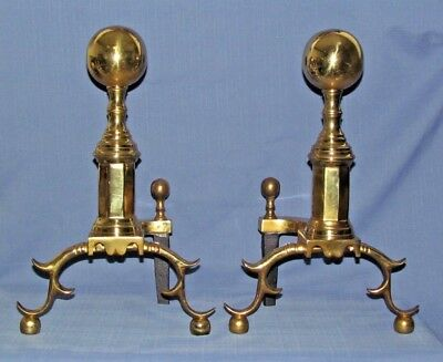 HEAVY AMERICAN BRASS ANDIRONS by THE HARVIN COMPANY in EXCELLENT CONDITION